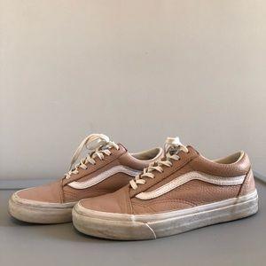 Vans Old Skool Lace-Up Sneakers Pink Leather